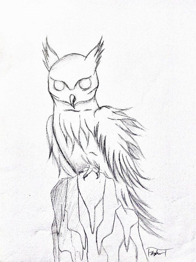 Ingram's owl drawing from eighth grade received criticism.