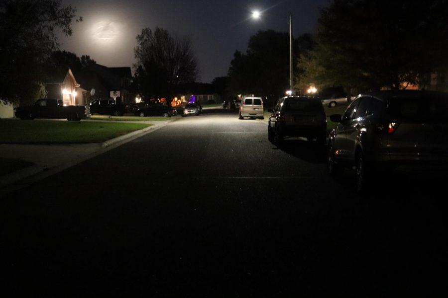 Empty street near Maize Road on Halloween night due to COVID-19.