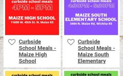 Curbside pick up for free meals available to all maize students.