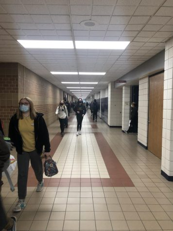 Students are released after the final bell. Hallways have been significantly less crowded due to the hybrid schedule.