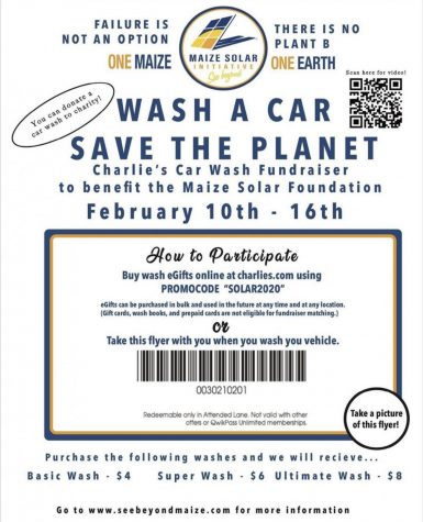 Maize Solar Initiative raises money through annual car wash fundraiser for solar panels.