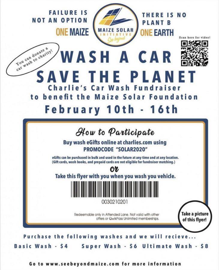 Maize Solar Initiative raises money through annual car wash fundraiser for solar panels.