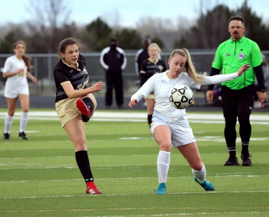 After the Circle Thunderbirds goalie throws the ball out to an offensive player, Grizel Lumbreras (10) kicks the ball back to the Thunderbirds side of the field. The Lady Mavericks would eventually lose their first game of the season, 1-0.