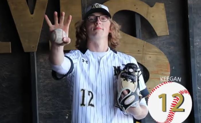 Keegan McFarland poses for his individual intro to the Maize South boys baseball footage on Tuesday, Mar. 30.