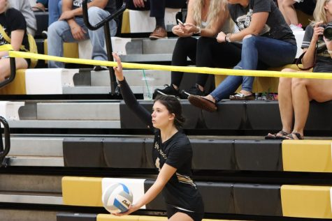 Senior Rachel Butts on the serving line ready to spike the ball to the opponents side of the court. The Lady Mavericks are 18-5 overall and has 12.0 kills per set. On Tuesday, Sept 21 at the Maize South main gym.
